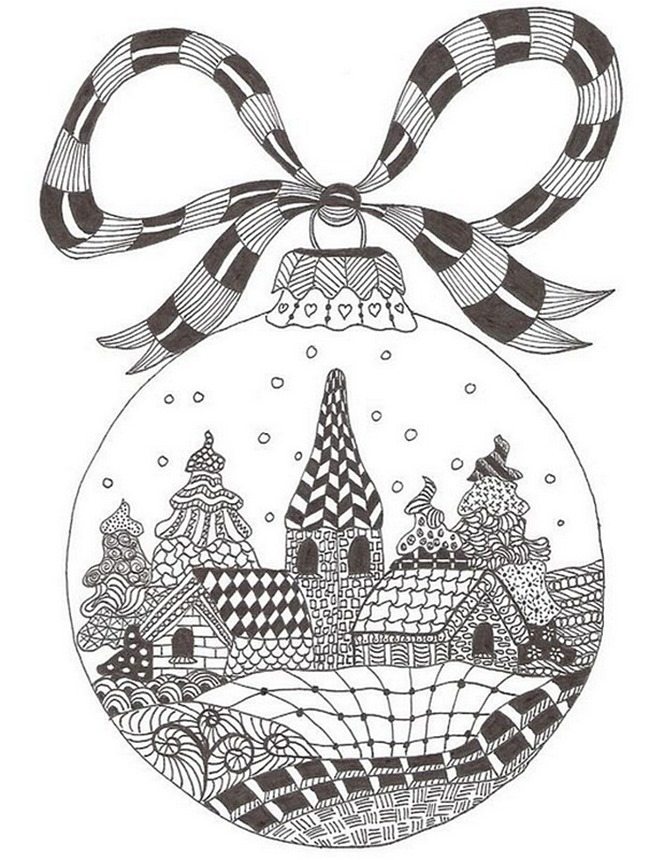 Christmas Printable Coloring Page - town