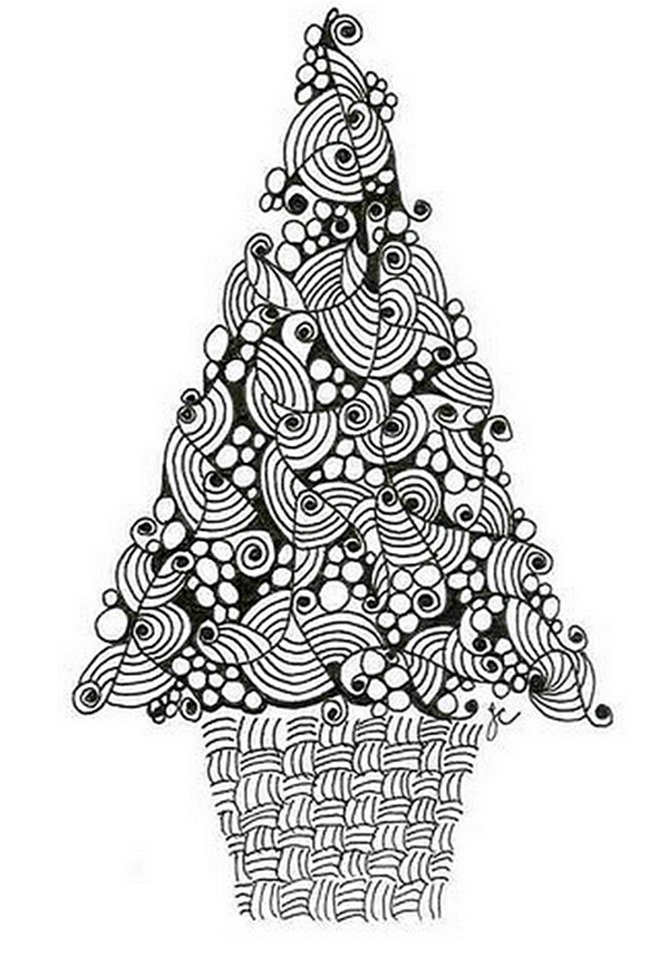 Christmas Printable Coloring Page -tree