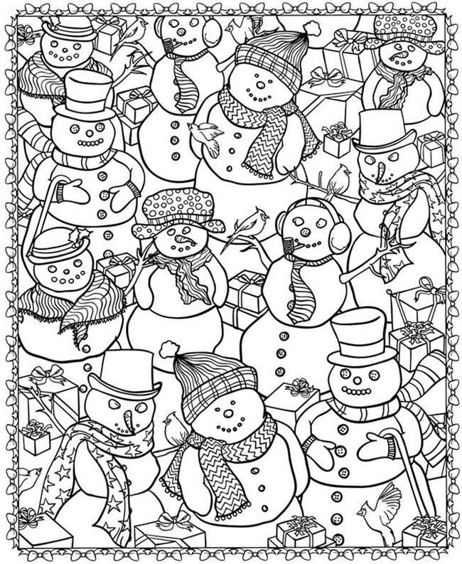 21 christmas printable coloring pages for Coloring pages of snowman