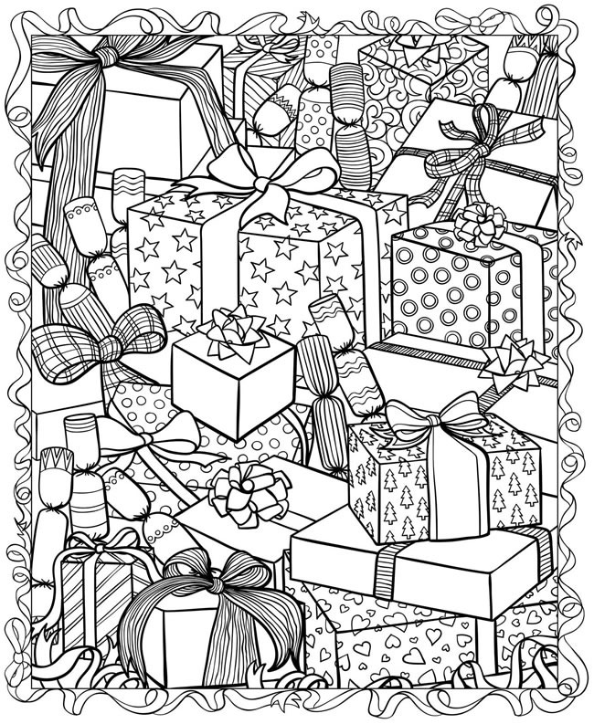 christmas printable coloring page presents - Christmas Coloring Pages For Adults