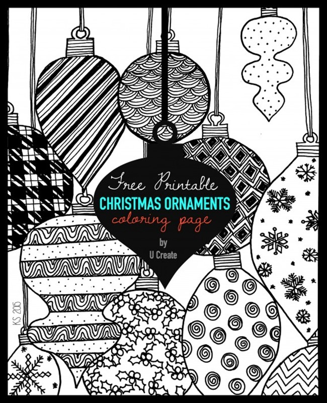 Free Christmas Coloring Pages - Ornaments