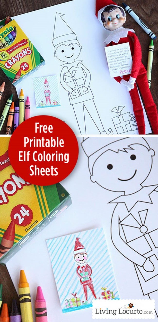 Free Christmas Coloring Pages Printable - Elf on Shelf