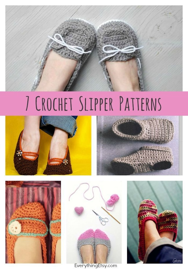 7 Free Crochet Slipper Patterns - great designs on EverythingEtsy.com