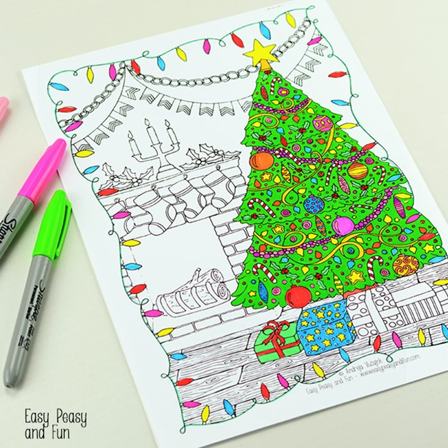Printable Christmas Coloring Pages for Adults - tree