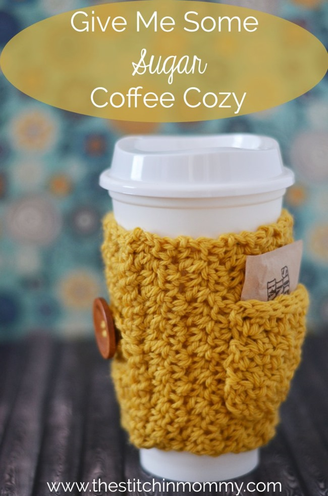 Free crochet pattern - coffee cozy with sugar holder