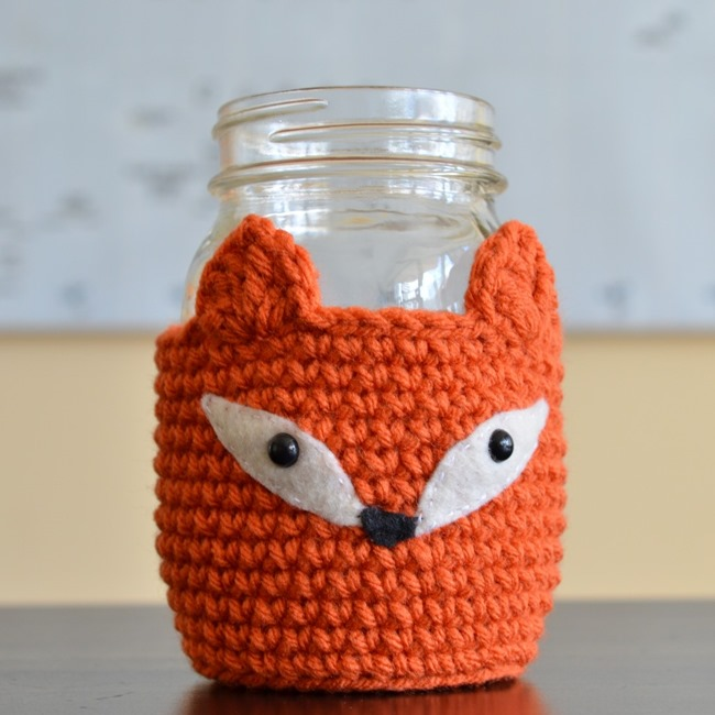 Free crochet pattern - mason jar cozy