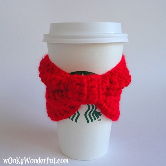free crochet pattern - coffee cozy bow