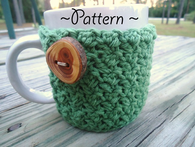 free crochet pattern - coffee cozy with button