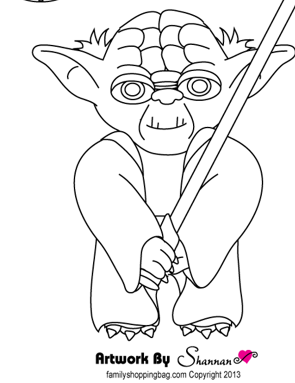 printable coloring page cleaver pink pirate yoda - Printable Coloring Pages Kids