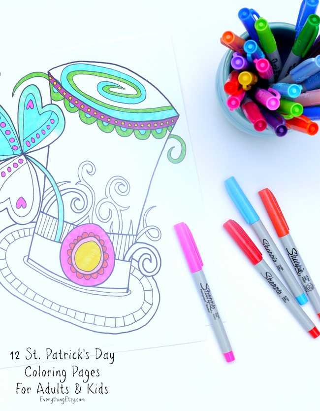 12 St. Patrick's Day Printable Coloring Pages for Adults & Kids - EverythingEtsy.com