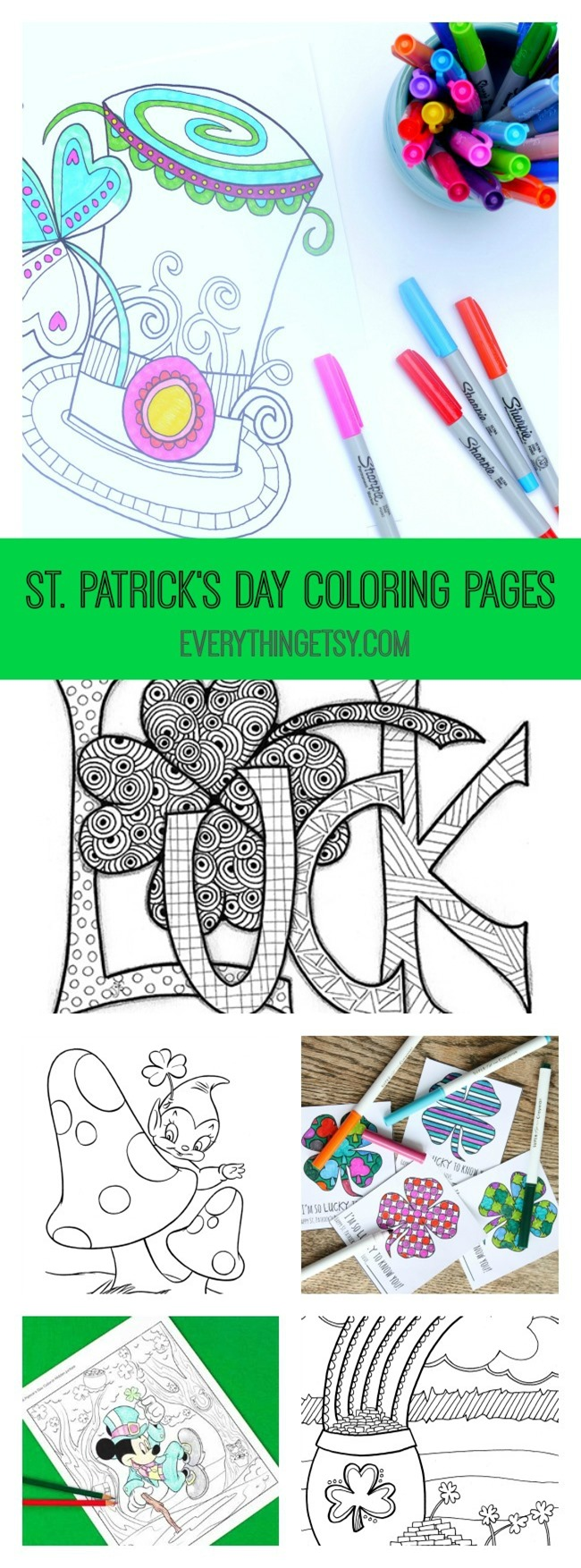 12 St. Patrick's Day Printable Coloring Pages for Adults & Kids at EverythingEtsy