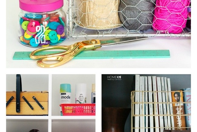 DIY Wire Baskets for Craft Room Storage