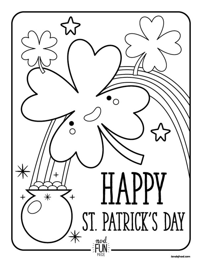 coloring pages cute clover st patricks day printable land of nod - Printable Shamrock Coloring Pages