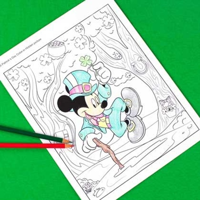 St. Patrick's Day Coloring Pages - Mickey Mouse