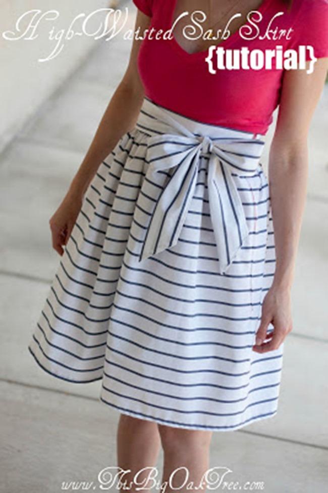 Spring sewing tutorials - stripe skirt