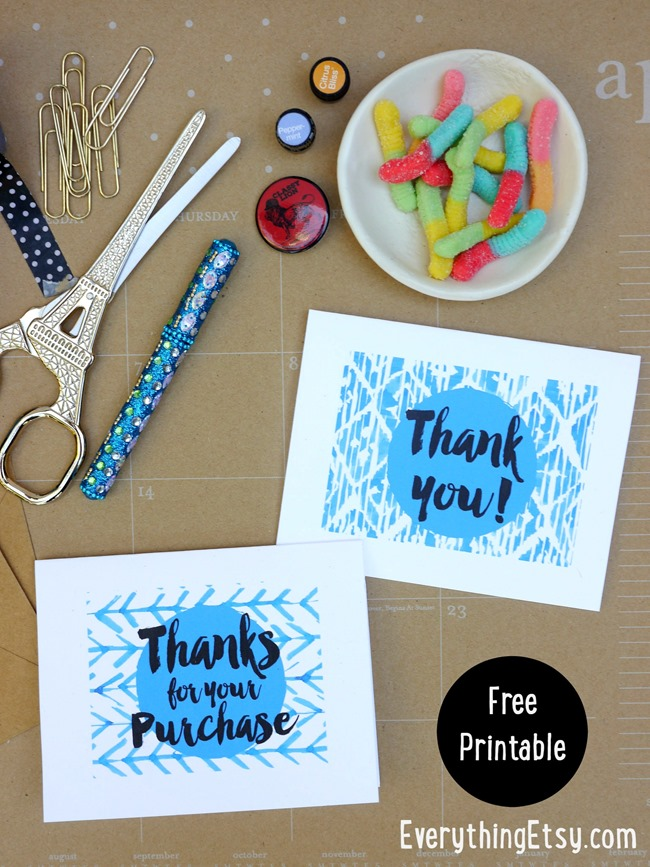 Free Printable Thank You Cards for Your Handmade Business - EverythingEtsy.com