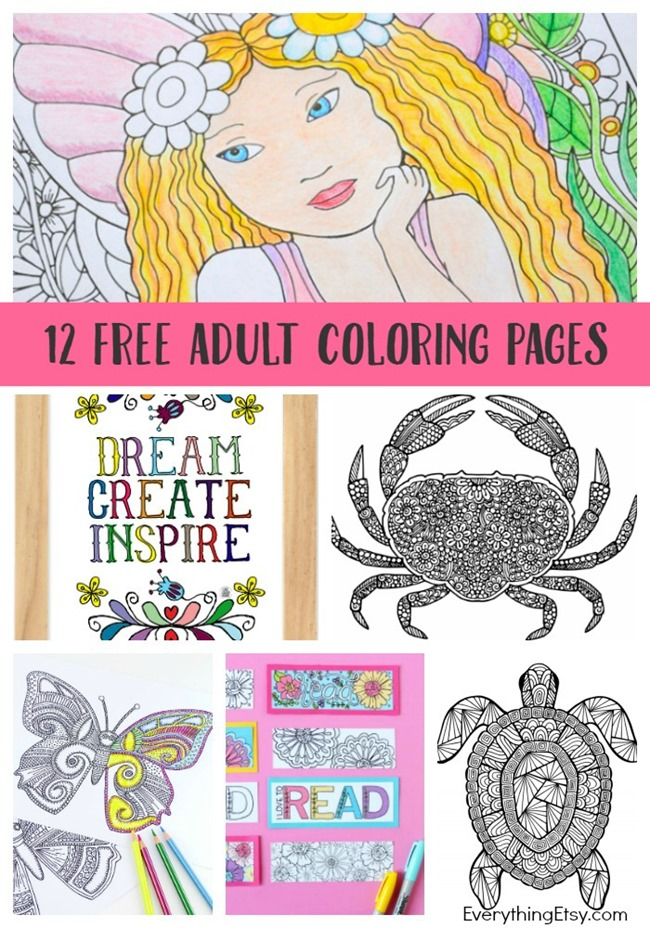 12 Adult Coloring Pages for Summer - Free Printables on EverythingEtsy.com