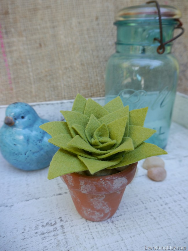 DIY Succulent made with felt - EverythingEtsy.com