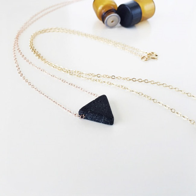 Essential Oil Jewelry - Handmade Triangle Necklace