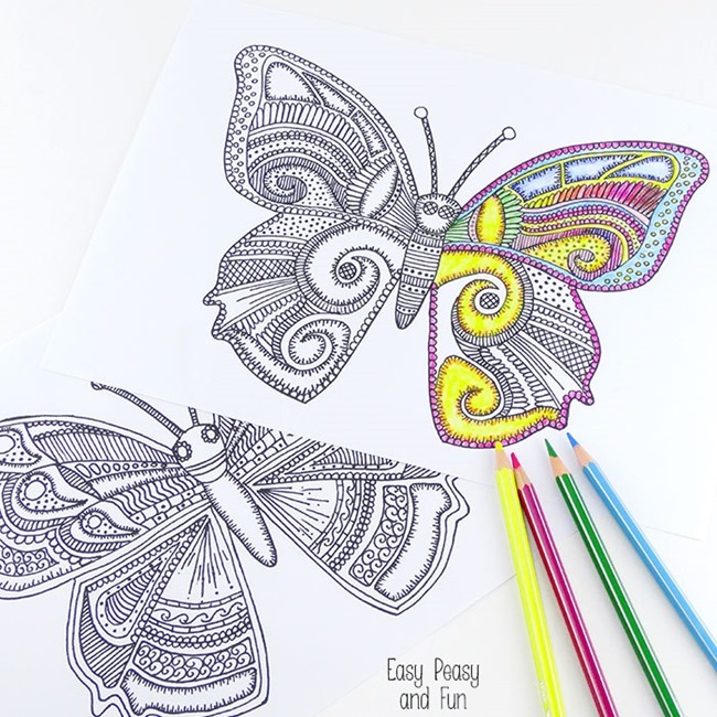 Free Printable Coloring Pages for Summer - Butterfly