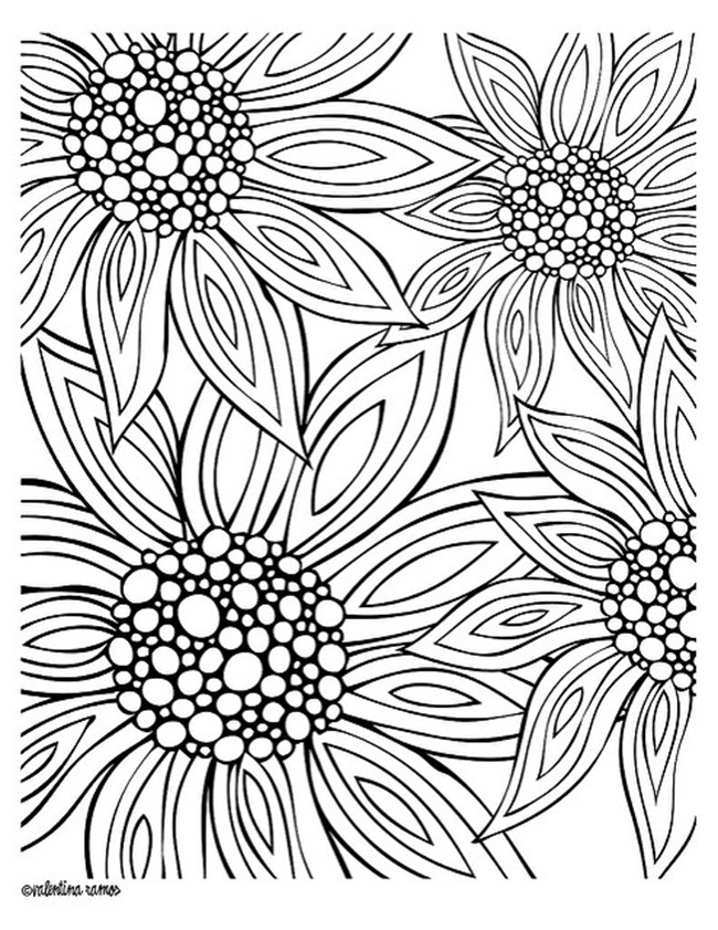 12 free printable adult coloring pages for summer for Flower adult coloring pages