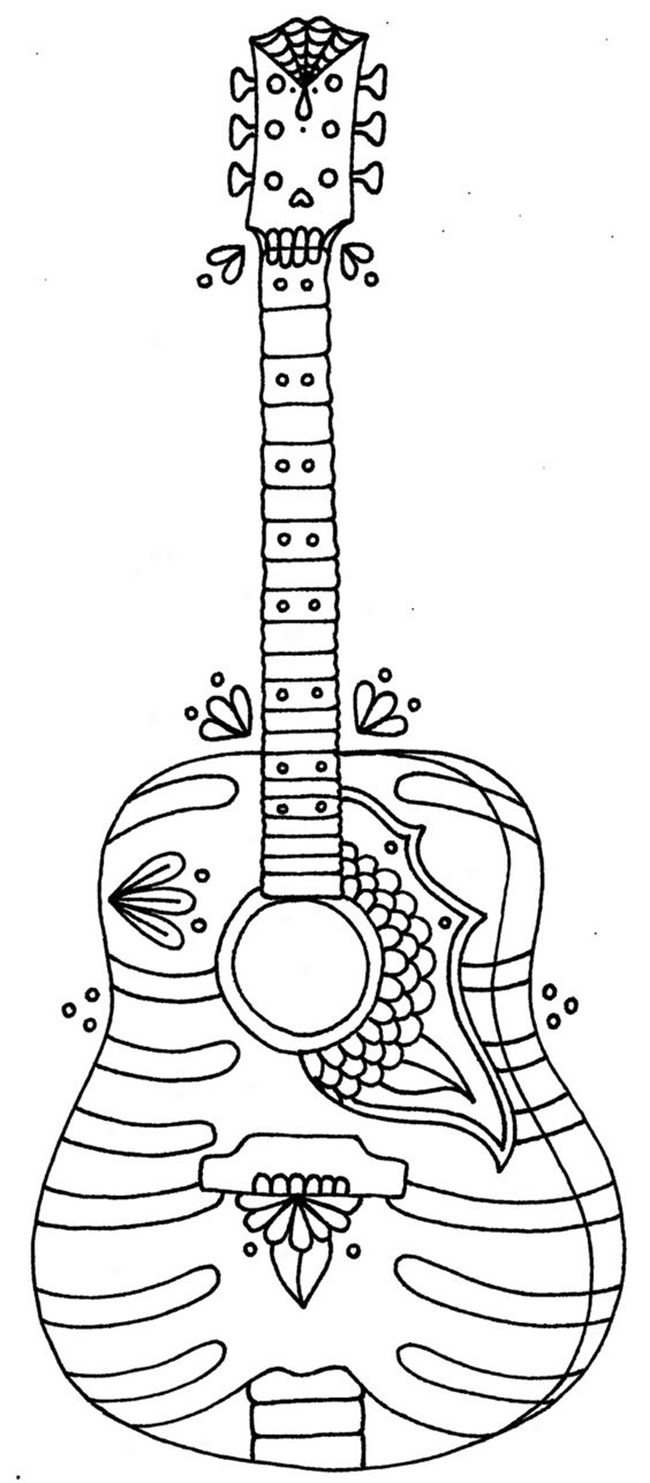 Free Printable Coloring Pages for Summer - Guitars