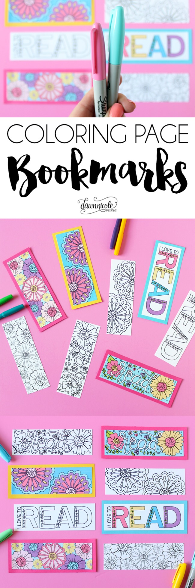Summer Coloring Pages - bookmarks by Dawn Nicole