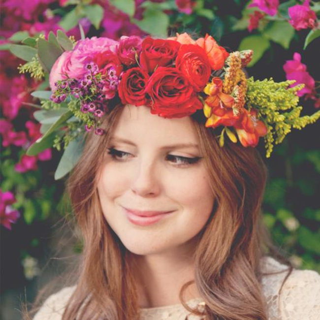 claire-thomas-bridal-shower-boho-diy-wearing-flower-crown-close-0814_sq by Claire Thomas on MarthaStewart