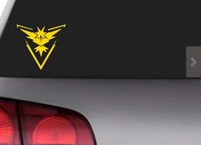 Pokemon Go Gift Ideas on Etsy - Car Team Decal