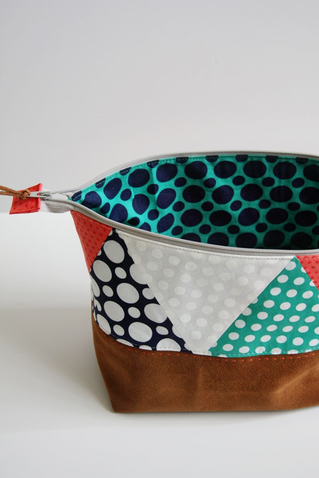 Zipper bag tutorial - polka dot and leather