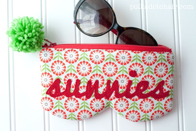 zipper sunglasses pouch pattern - polkadot chair