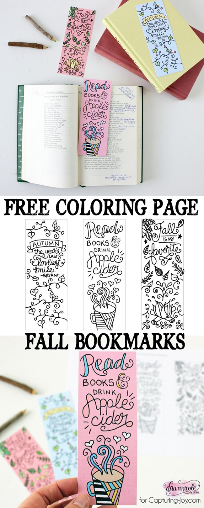 12 Fall Coloring Pages for Adults - Bookmarks