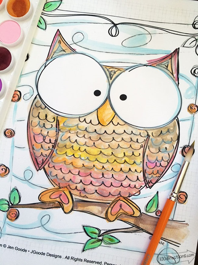 12 Fall Coloring Pages for Adults - Colorful Owl