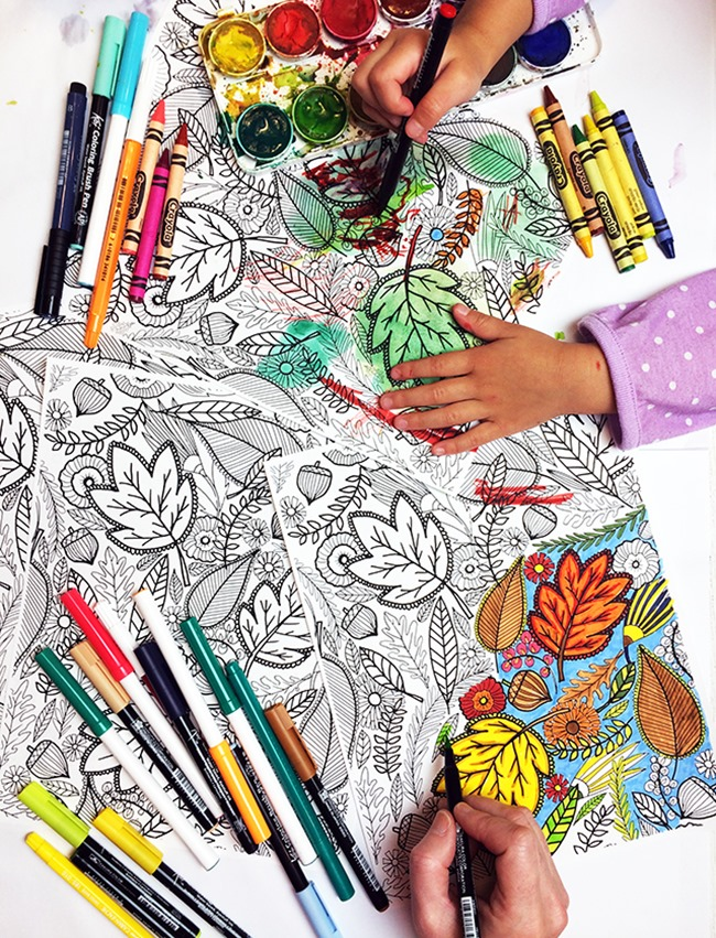 12 Fall Coloring Pages for Adults - Leaves - Alisa Burke