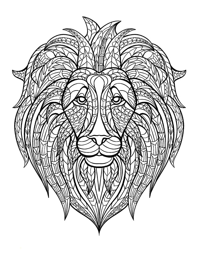 12 fall coloring pages for adults lion - Fall Coloring Pages Free