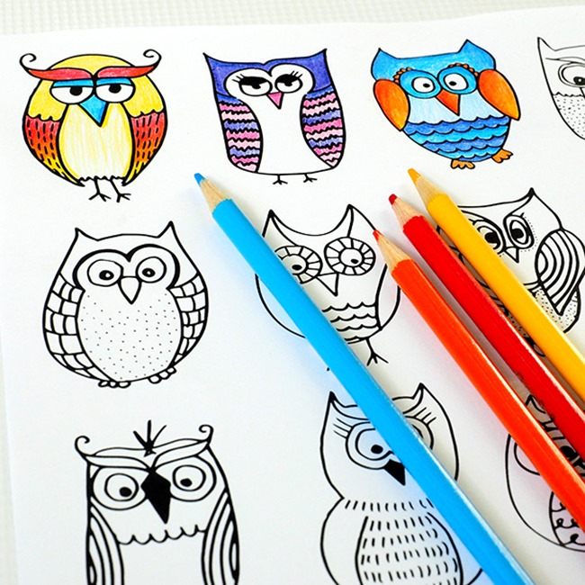 12 Fall Coloring Pages for Adults - Owls