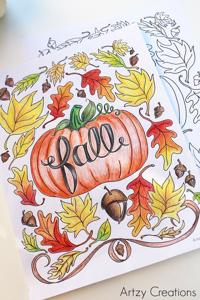pumpkin and leaves coloring pages - photo#33