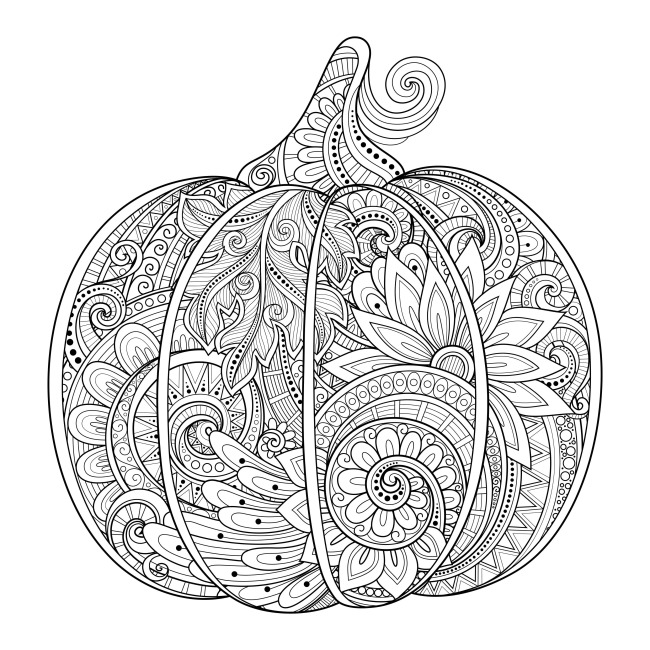 12 Fall Coloring Pages for Adults - Pumpkin