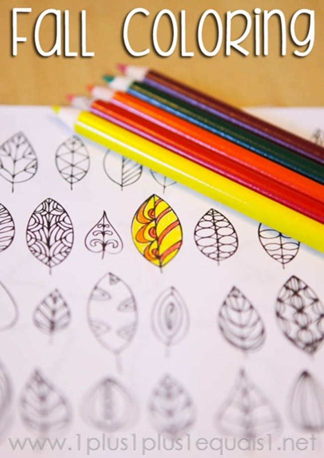 12 Fall Coloring Pages for Adults - Simple Leaves