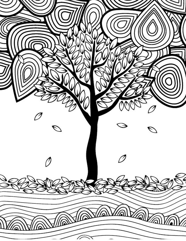 12 fall coloring pages for adults tree - Free Fall Coloring Pages Print
