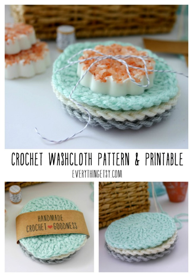 Crochet Washcloth Pattern and Free Printable Gift Label on EverythingEtsy.com
