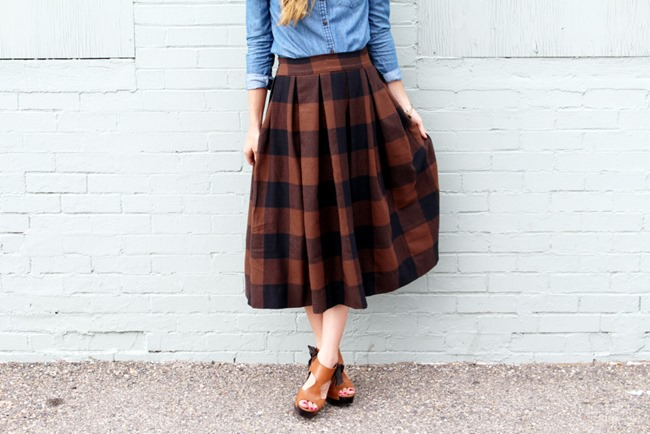 Fall Skirt Tutorials - Buffalo Check Pleated