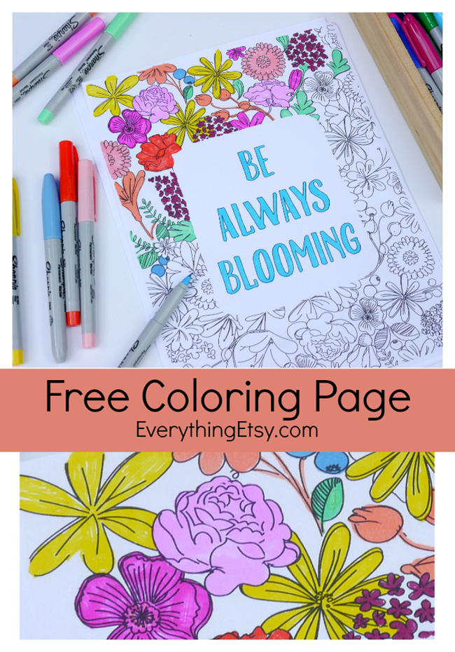 Free Coloring Page Printable for Adults - EverythingEtsy