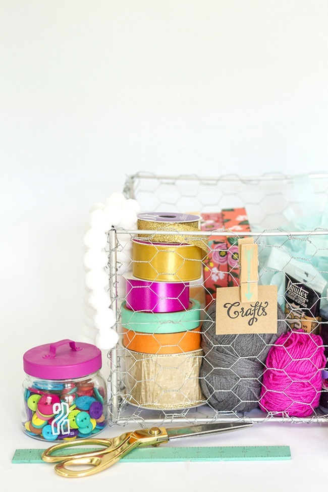 DIY Craft Supply Organization - Wire Basket