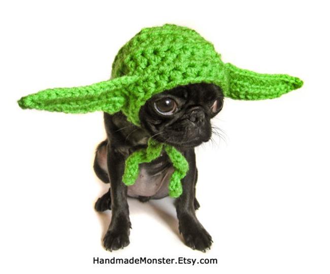 Handmade Pet Costume - Crochet Yoda