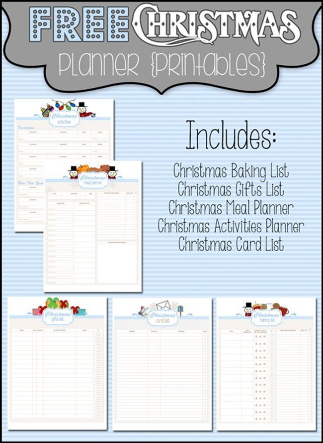 Free Christmas Planner Printables - Baking and more!
