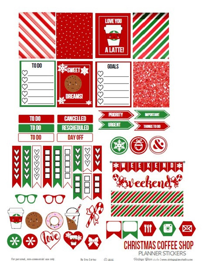 Free Christmas Planner Printables - Christmas Coffee Shop Stickers