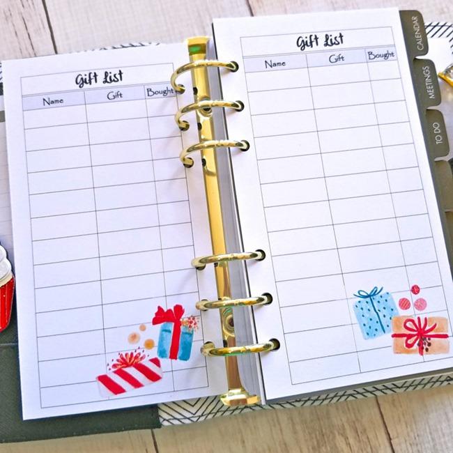 Free Christmas Planner Printables - Gift List