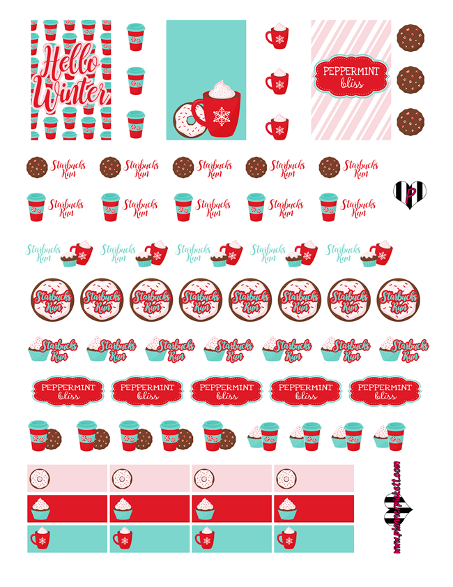Free Christmas Planner Printables - Peppermint Bliss Stickers