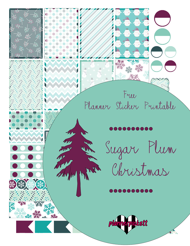 Free Christmas Planner Printables - Sugar Plum Planner Sticker Printables